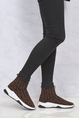 Sarra Letter Design Sockboot in Brown Trainers Miss Diva Brown 3