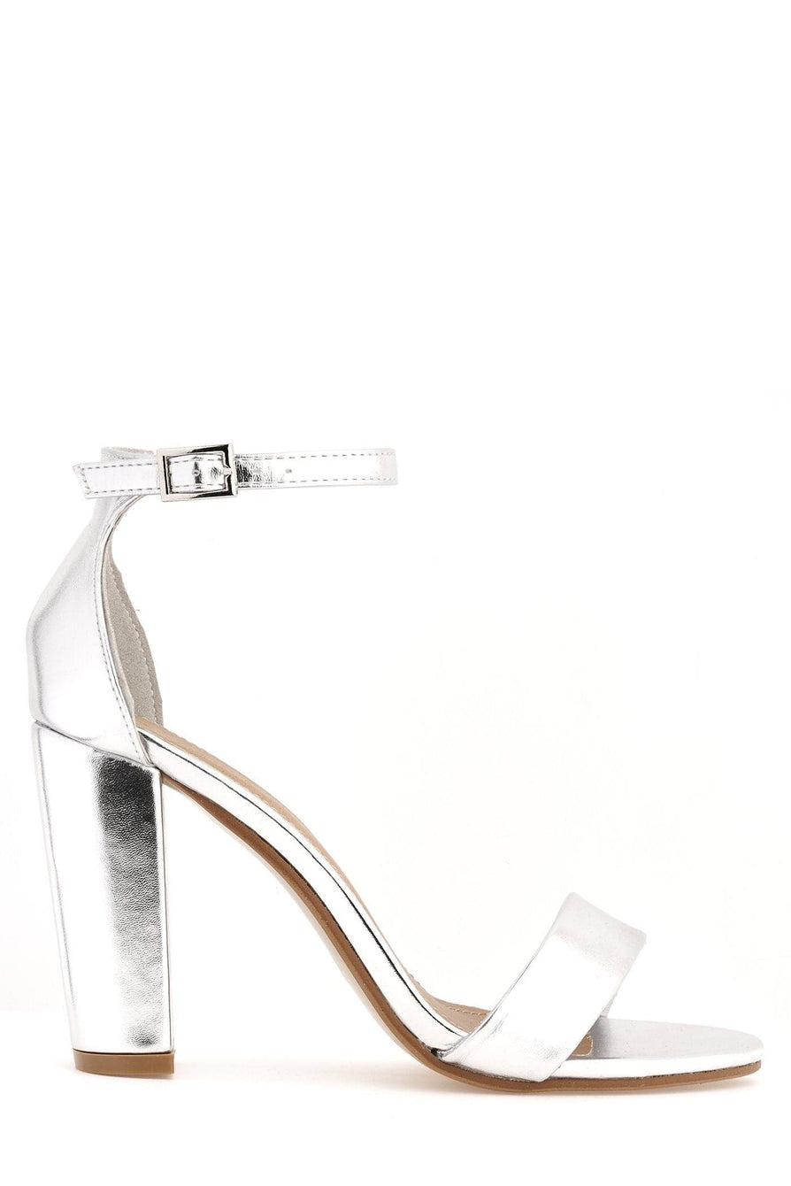 May Barely There Block Heel Ankle Strap Sandal In Silver Heels Miss Diva