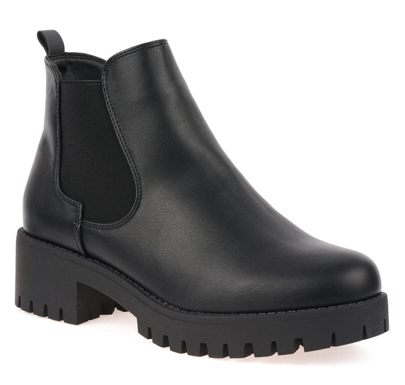 Elastic Cleated Sole Ankle Boot in Black Matt