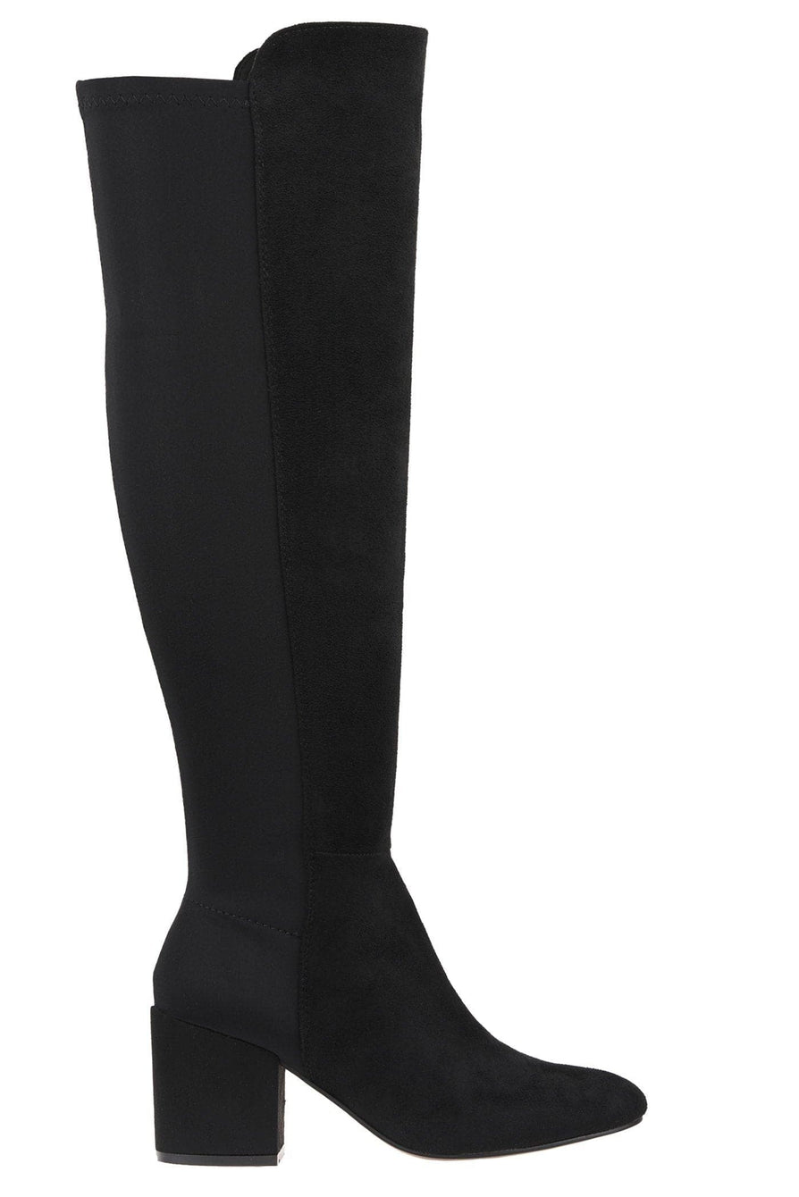 Chrissy Blockheel Over Knee Boot In Black Suede Boots Miss Diva