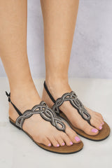 Rome Toepost T-Bar Diamante Sandal in Black