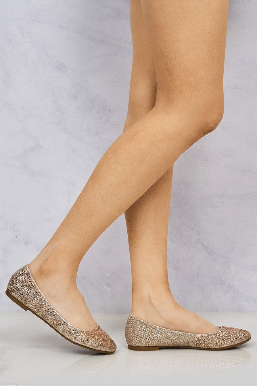 Lilly Round Toe Diamante & Stud Pump in Champagne Partywear Miss Diva Champagne 3