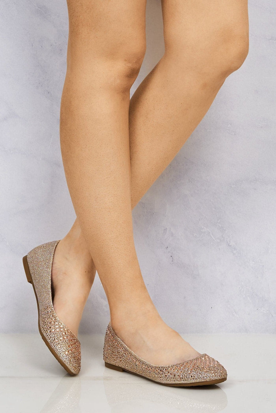 Lilly Round Toe Diamante & Stud Pump in Champagne Partywear Miss Diva