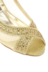 Marvi Med Wedge Mesh Sling Back in Gold Clearance Miss Diva