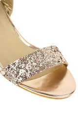 Ruby block heel glitter ankle strap In Rose Gold
