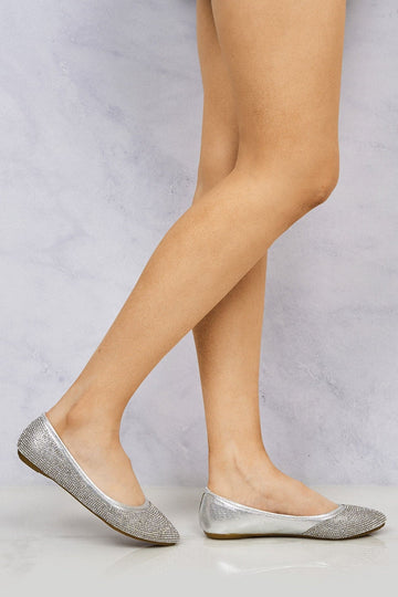Thea Round Toe Diamante Pump in Silver