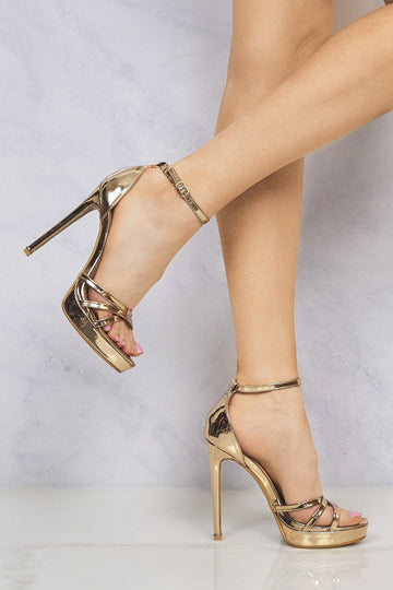 Crossover Strap Platform Sandal in Rose Gold