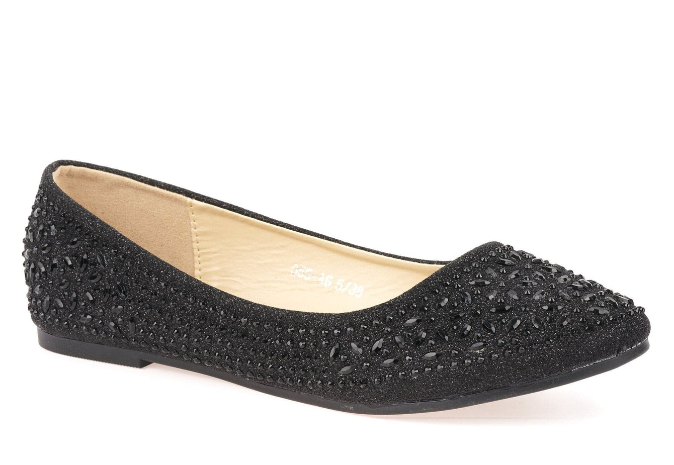 Round Toe Stone Encrusted Pump in Black
