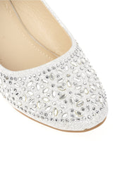 Janney Round Toe Stone Encrusted Pump in Silver