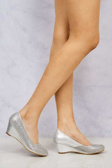 Dreamer Diamante Court Shoe Wedge in Silver