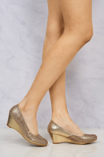 Dreamer Diamante Court Shoe Wedge in Rose Gold