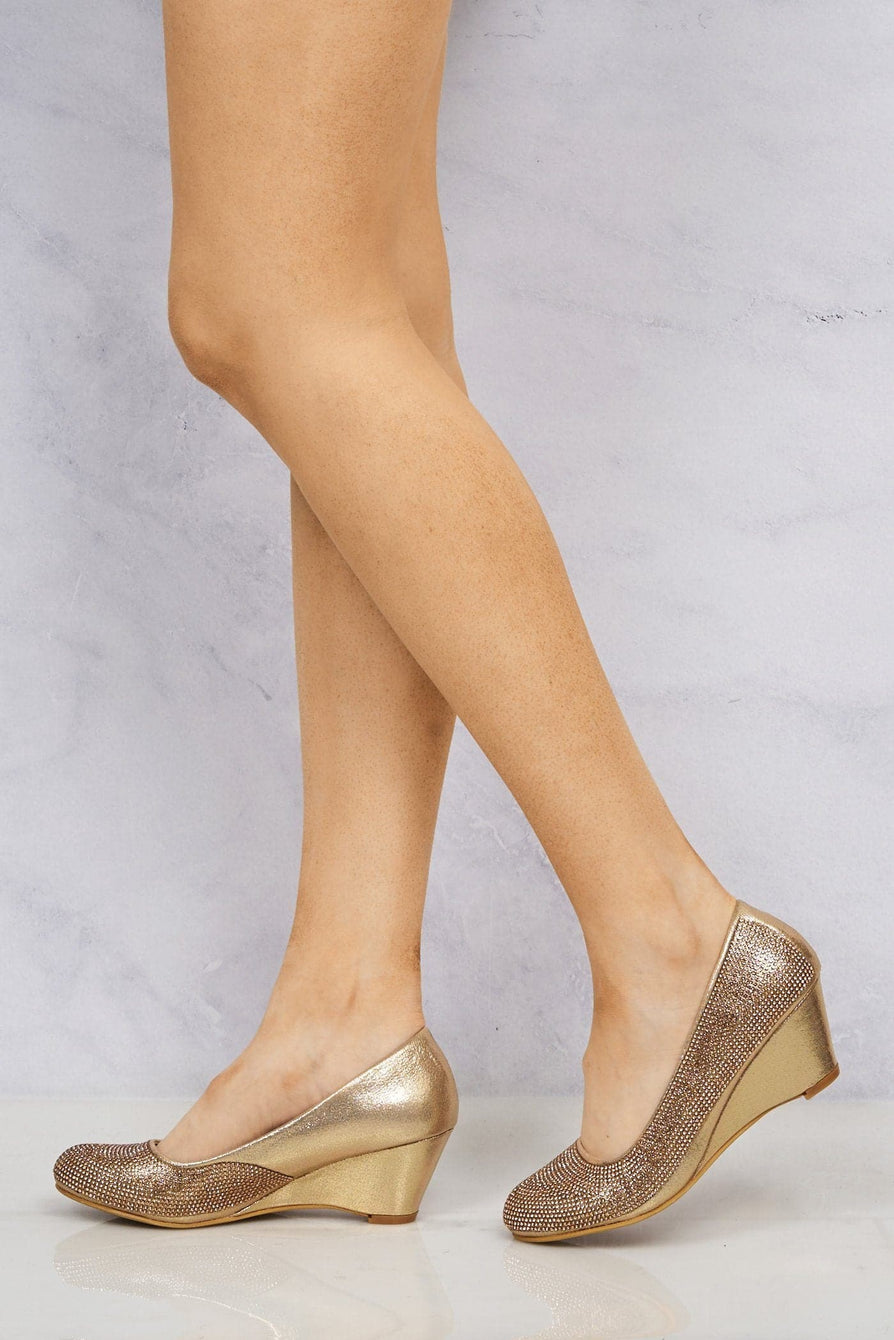 Dreamer Diamante Court Shoe Wedge in Rose Gold Partywear Miss Diva