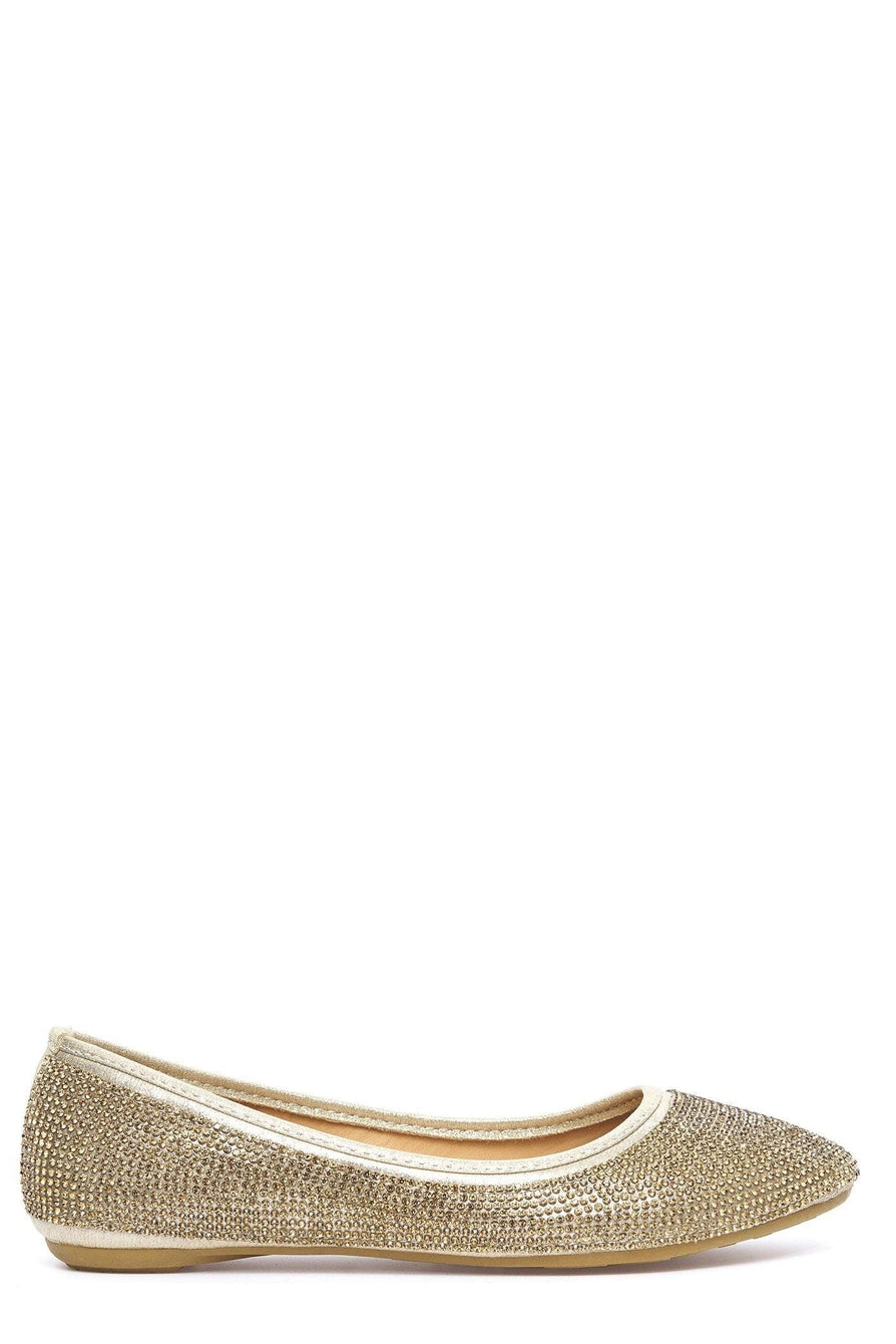 Thea Round Toe Diamante Pump in Gold