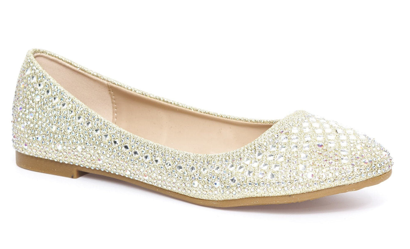 Lilly Round Toe Diamante & Stud Pump in Gold