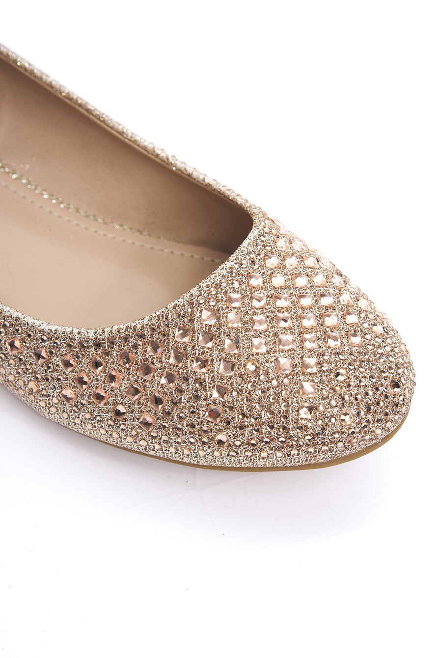 Lilly Round Toe Diamante & Stud Pump in Champagne