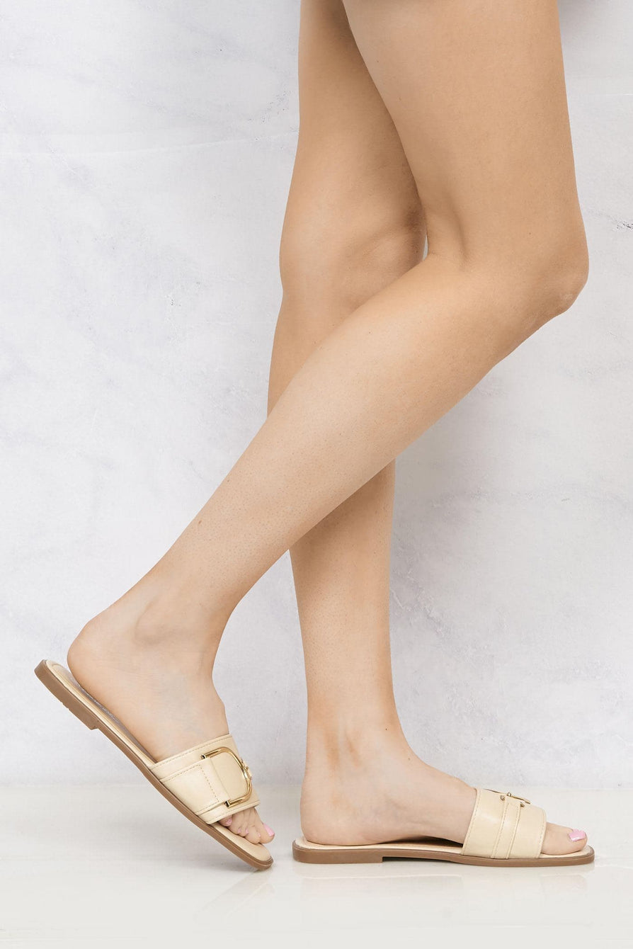 Arabella Gold Finish D Link Open Toe Sliders in Nude Flats Miss Diva Nude 3