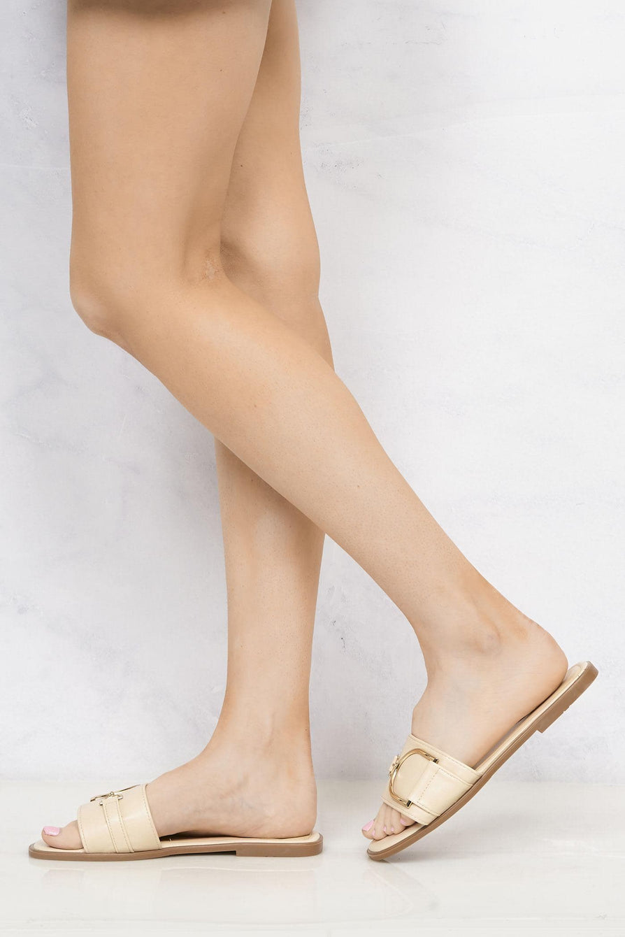 Arabella Gold Finish D Link Open Toe Sliders in Nude Flats Miss Diva