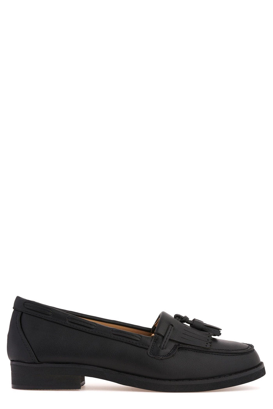 Hetty Flat Fringe Toggle Shoe in Black Matt Flats Miss Diva