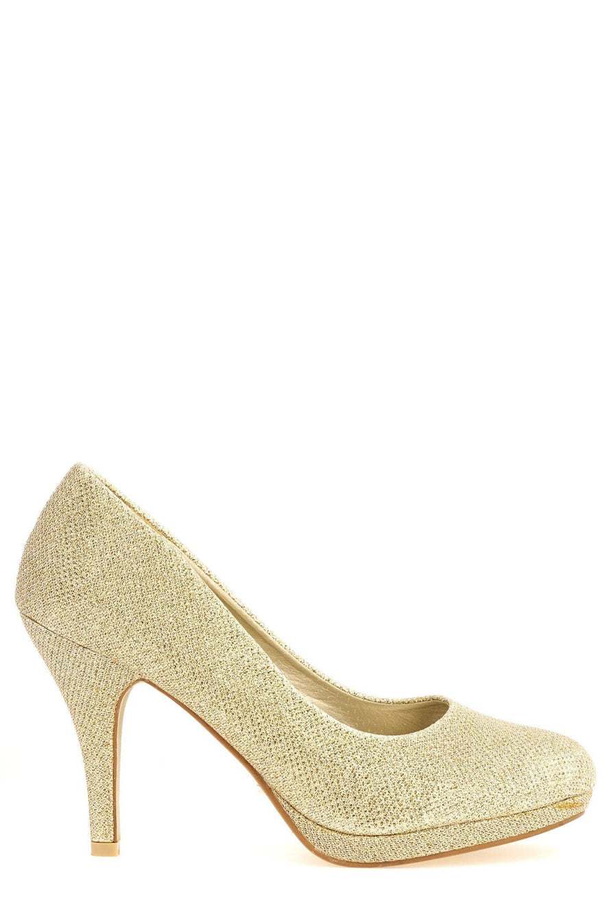 Magnolia High Heel Low Platform Court Shoe In Gold Clearance Miss Diva
