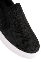 Nadine All Over Diamante Slip On Trainer in Black Trainers Miss Diva