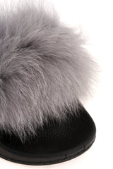 Effie Fur Band Slider in Grey