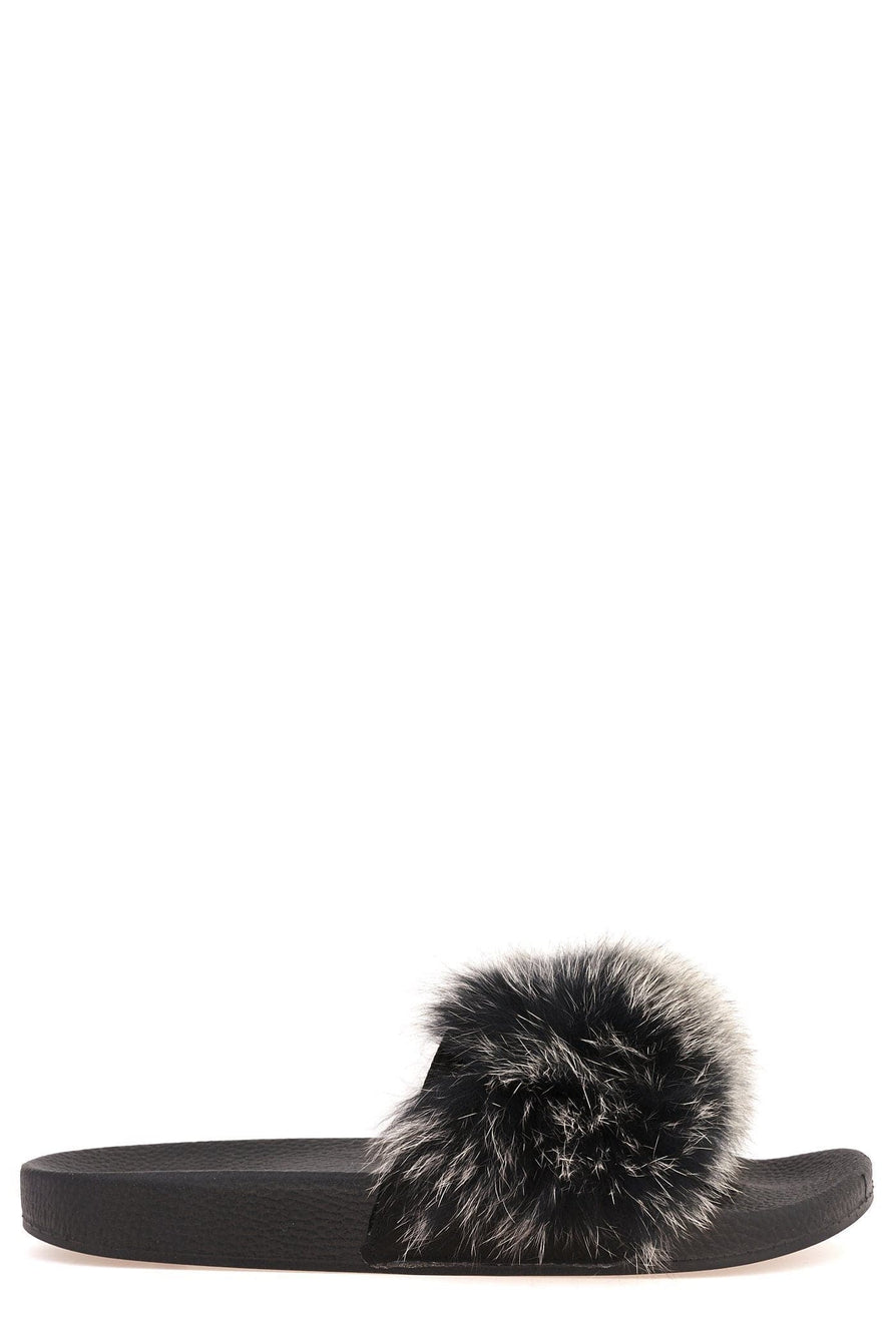 Effie Fur Band Slider in Black/White