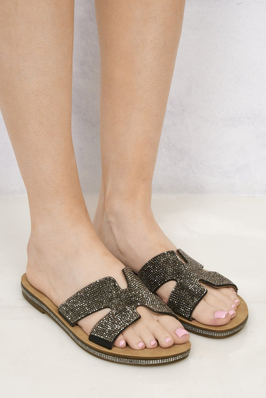 Mauritius Diamante Cut Out Open Toe Sliders in Black Flats Miss Diva Black 3