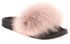 Effie Fur Band Slider in Pink