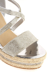 Ciara Espadrille Cork Crisscross Diamante Wedge In Silver