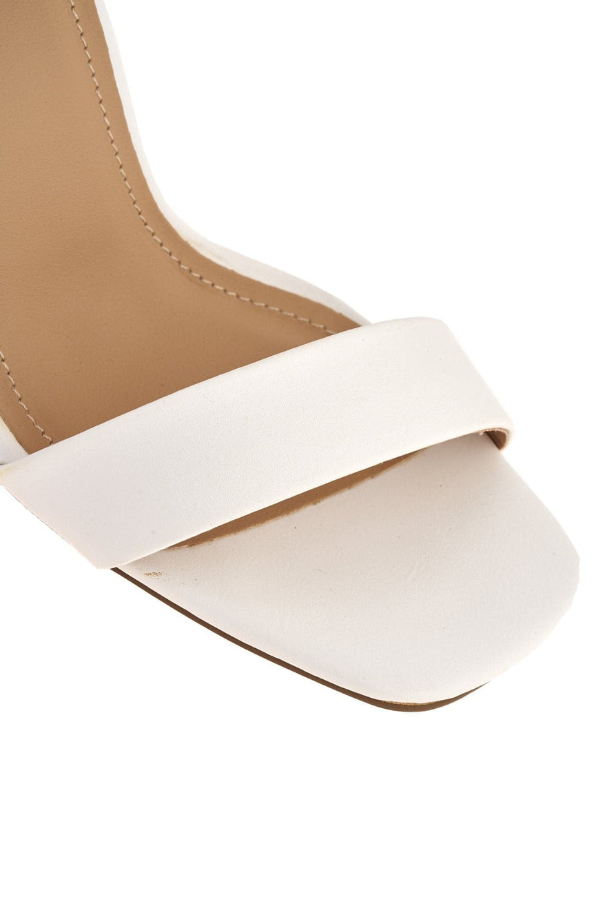 Iraya Thick Anklestrap  Block Heel Sandal in White Matt