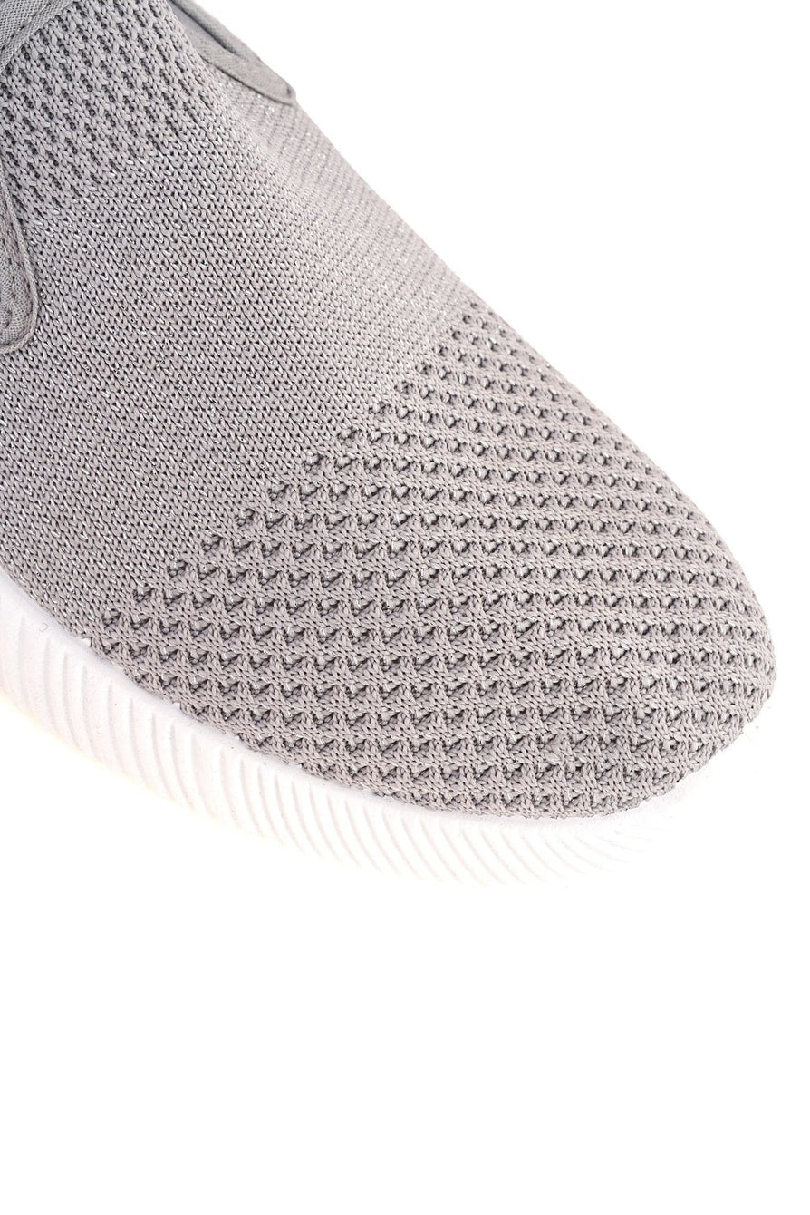 Timo Knitted Slip On Trainer in Grey Trainers Miss Diva