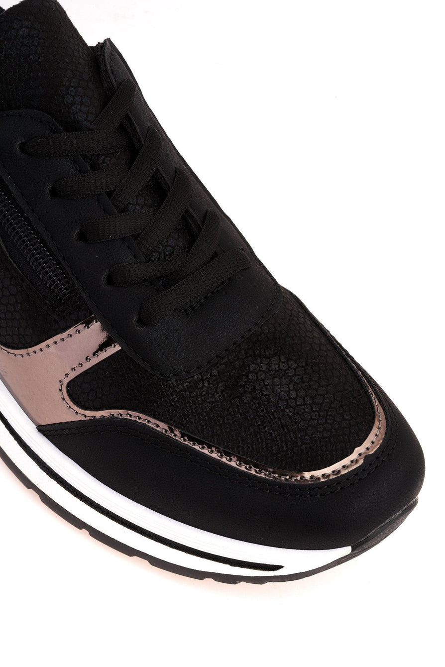 Ameila Side Zip Metalic Trim Lace Up Trainer in Black Trainers Miss Diva