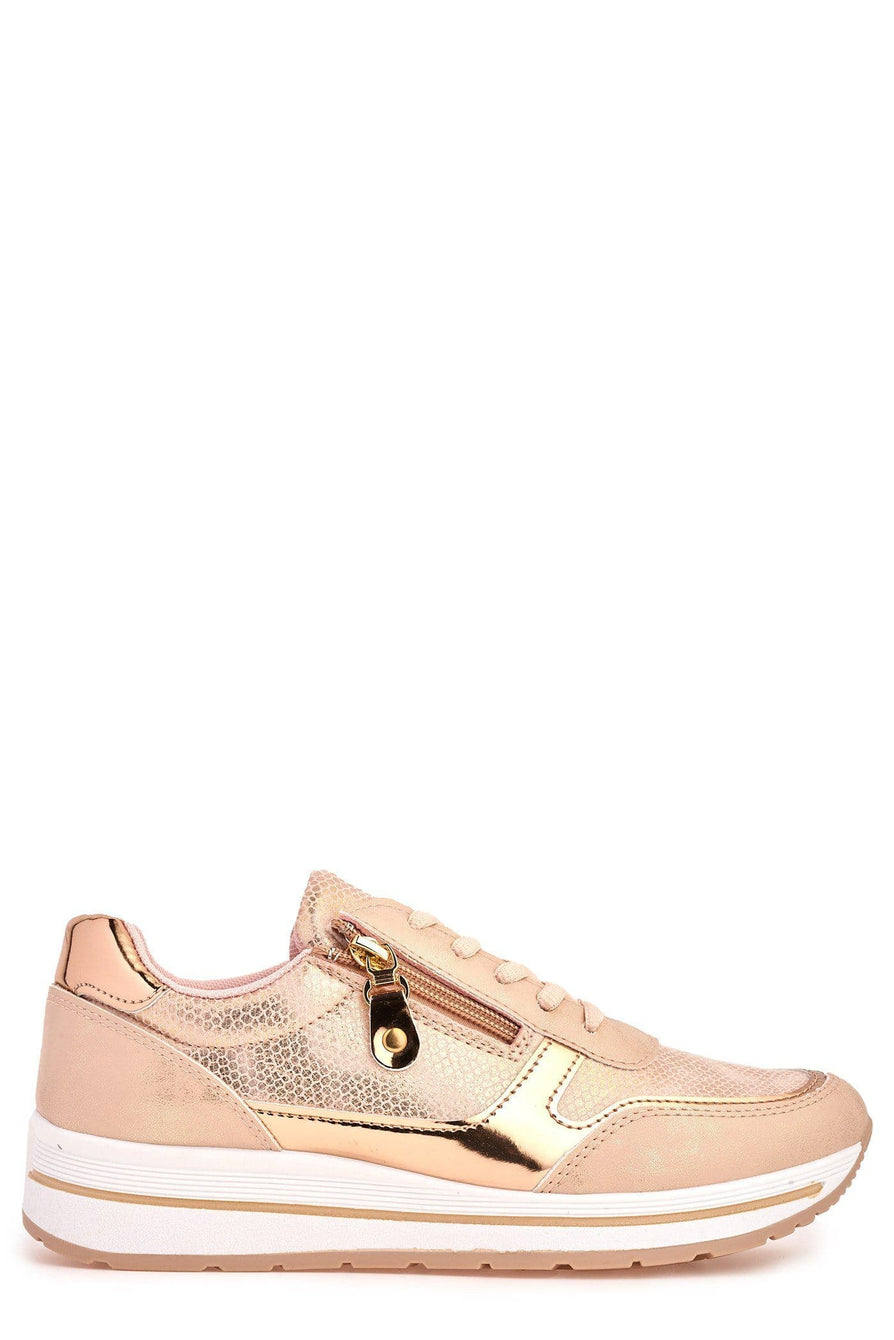 Ameila Side Zip Metalic Trim Lace Up Trainer in Pink Trainers Miss Diva