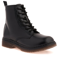 Pria Clear Sole Lace Up Boot in Black Matt