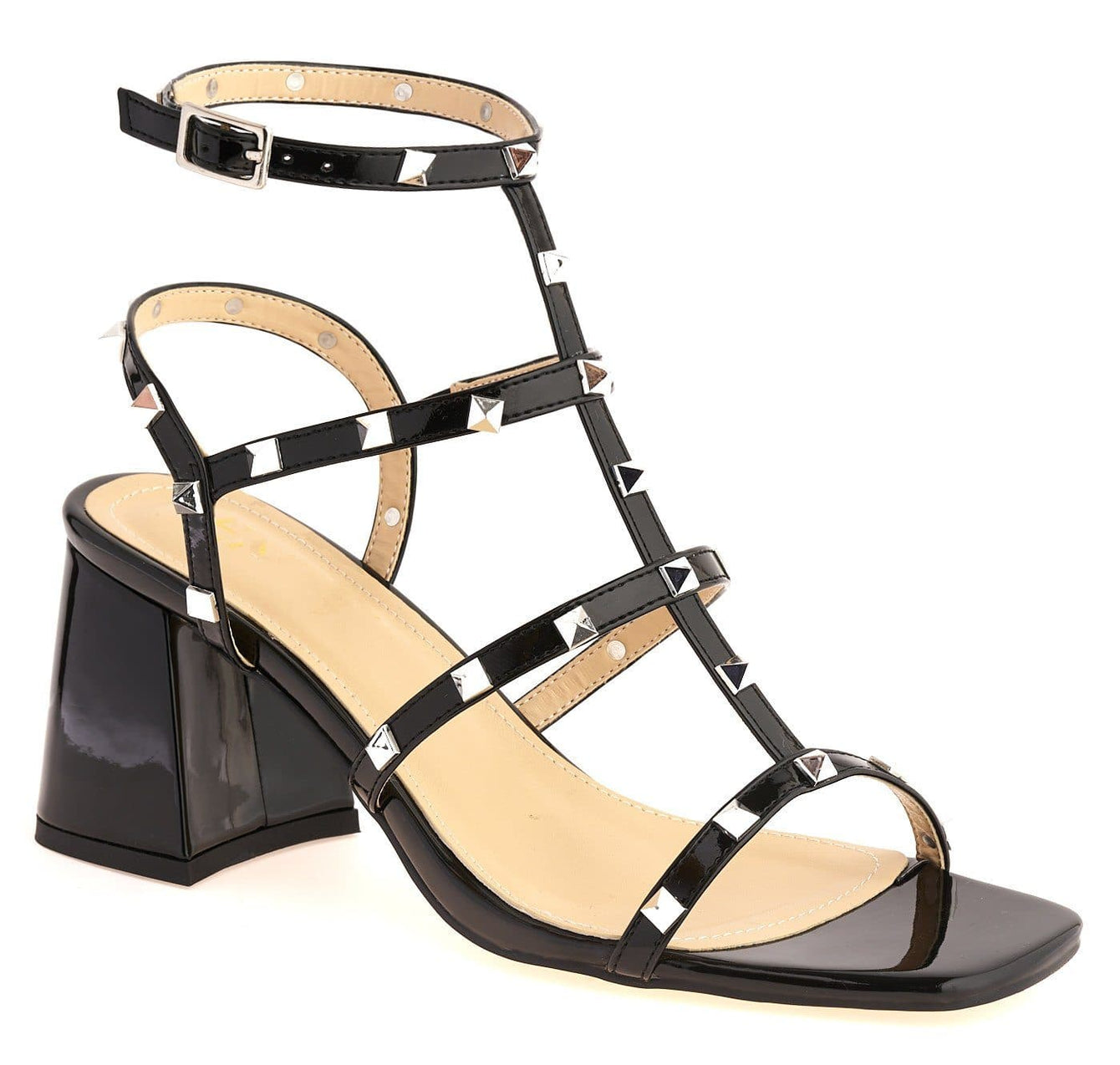 Pitter Studded Strappy Block Heel Sandal in Black Patent