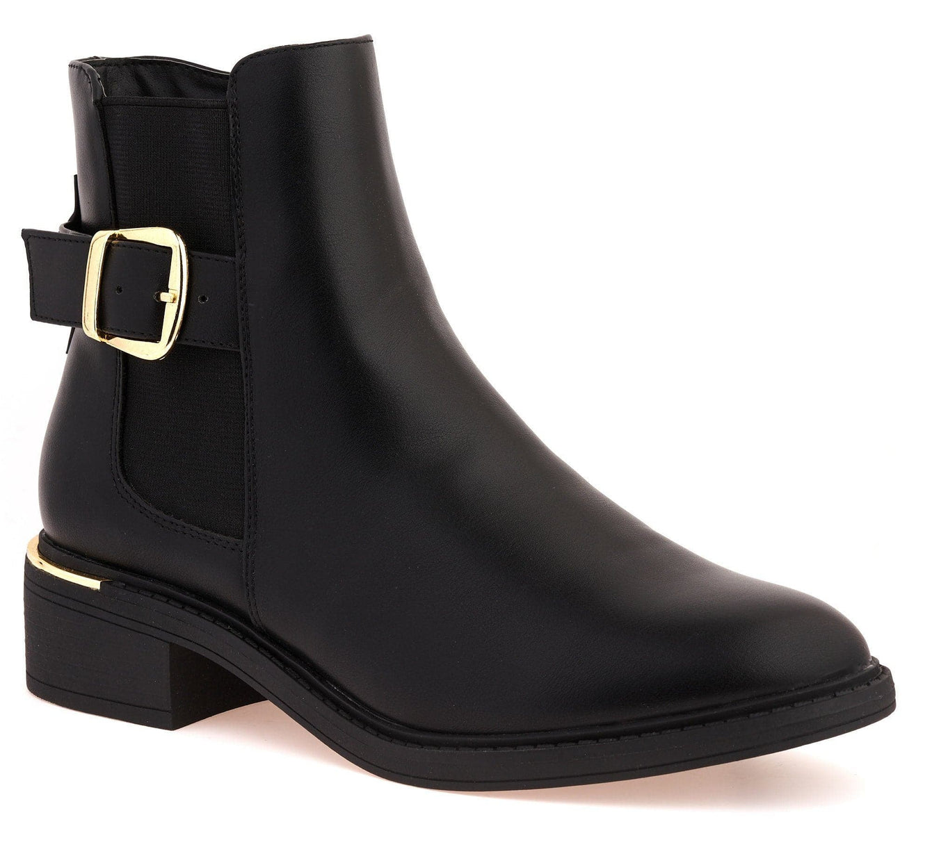 Zimie Gold Heel Trim & Buckle Ankle Boot in Black Matt Boots Miss Diva