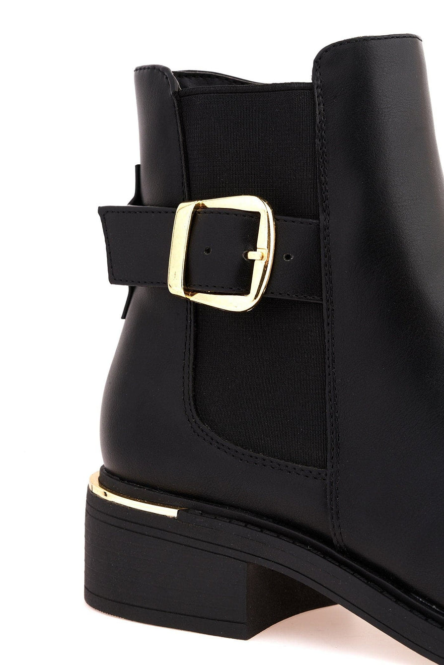 Zimie Gold Heel Trim & Buckle Ankle Boot in Black Matt