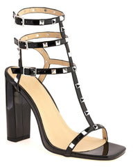 Tessa Studded Strappy High Block Sandal in Black Patent