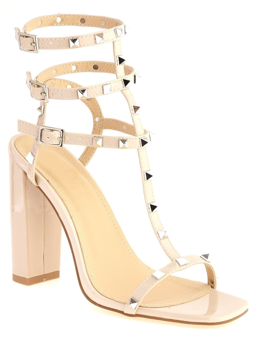 Tessa Studded Strappy High Block Sandal in Nude Patent