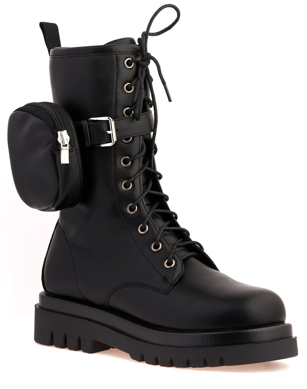 Icon Side Zip Pocket Lace Up Boot in Black Matt