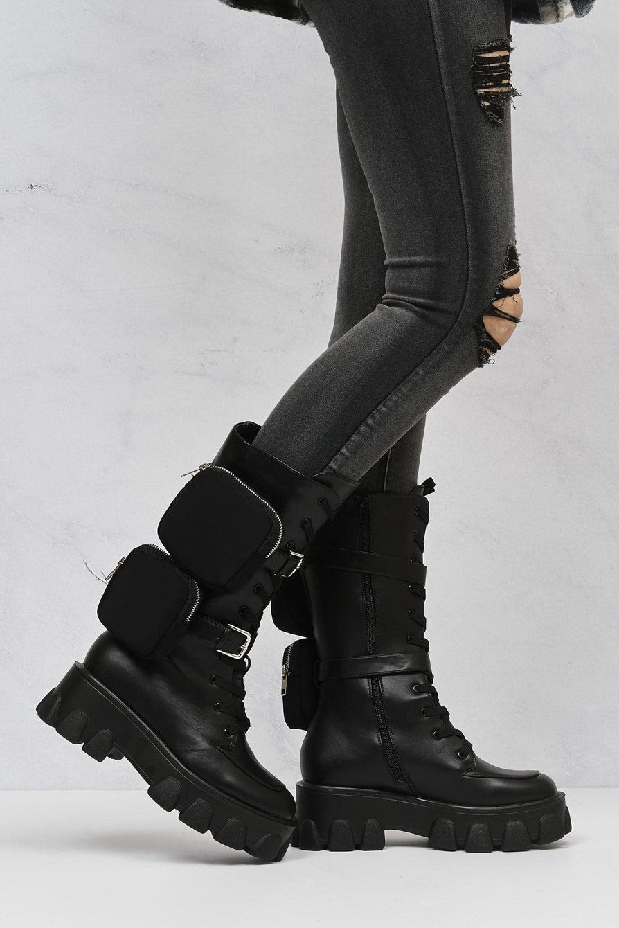 Foxy 2 Side Zip Pocket Lace Up Biker Boot in Black