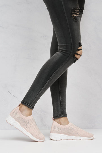 Harley Diamante Slip On Sock Trainers in Pink