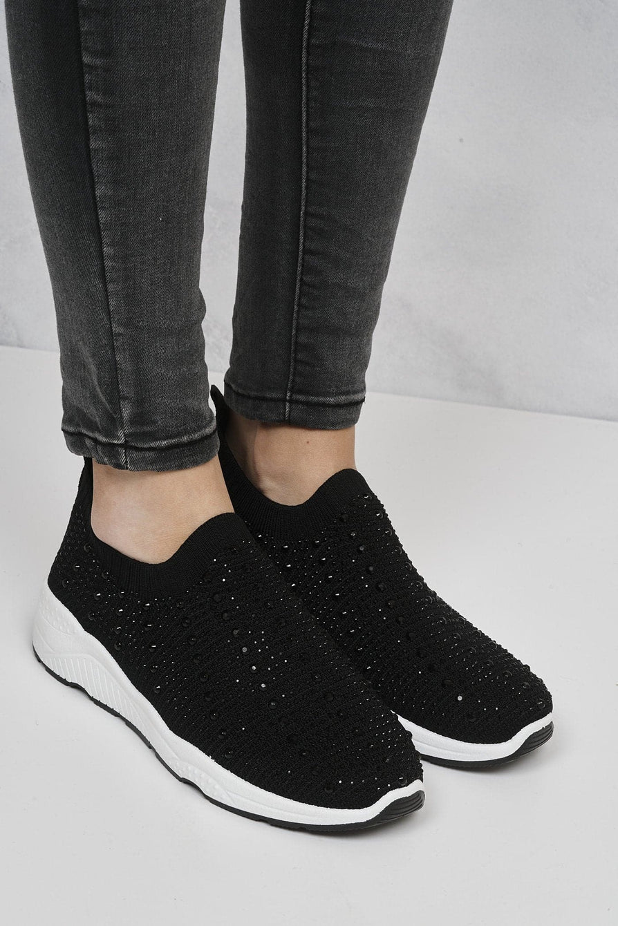 Gabbie Studded Slip On Sock Trainers in Black Trainers Miss Diva