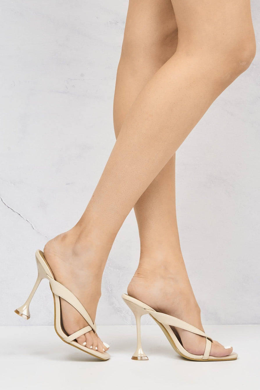 Nico Mid Heel Cross Toe-Post Mule in Cream Heels Miss Diva