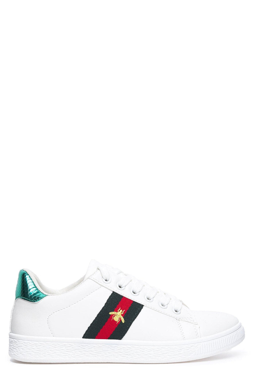 Lyla Bee Icon Lace Up Trainer in White