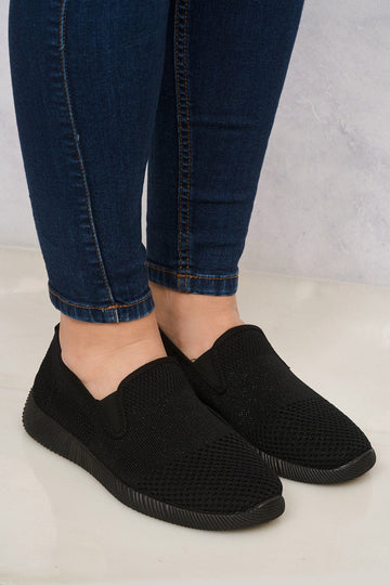 Timo Knitted Slip On Trainer in Black