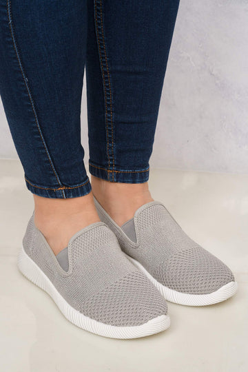 Timo Knitted Slip On Trainer in Grey