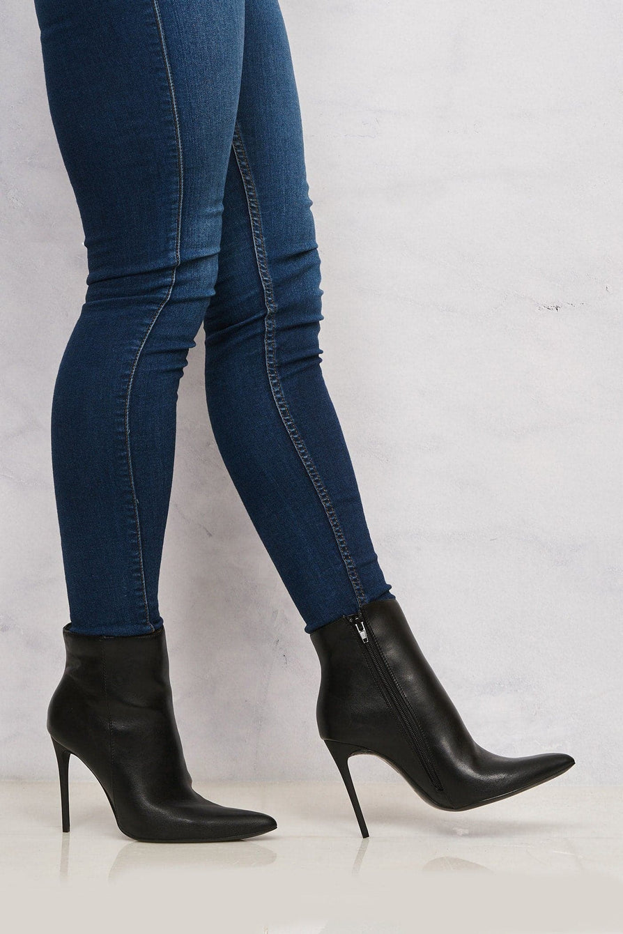 Monroe Pointed Toe Ankle Boot In Black Matt Boots Miss Diva