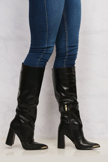 Deena Pointed Toe Gold Trim Knee High Boot in Black