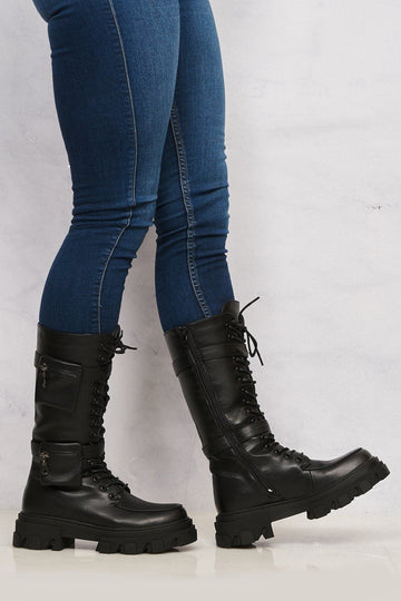 Belinda 2 Side Zip Pocket Lace Up Calf Boot in Black